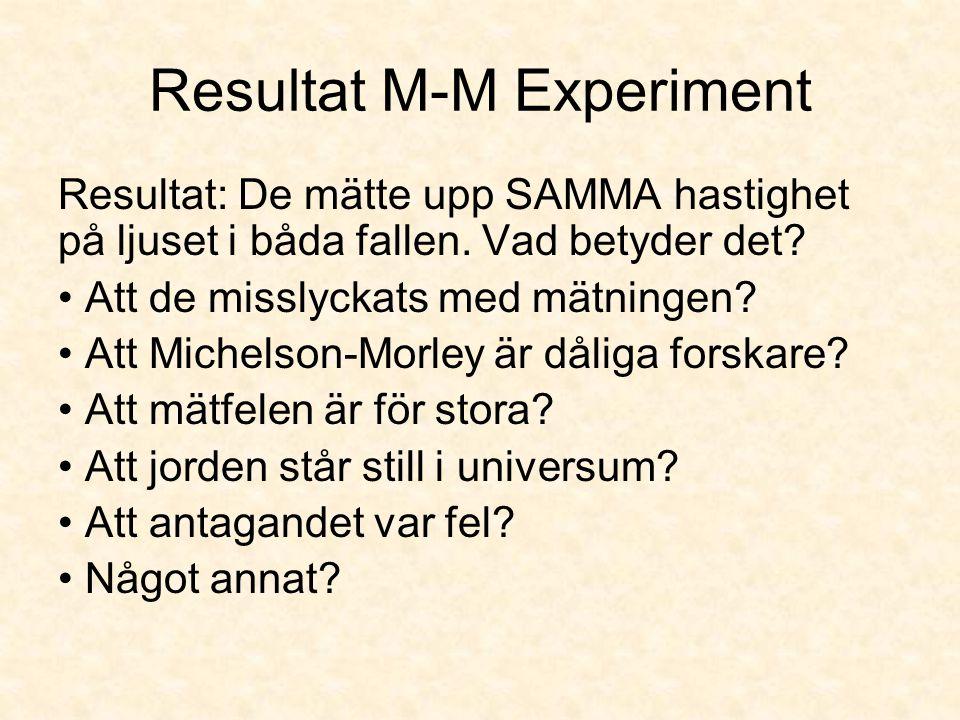 Resultat M-M Experiment