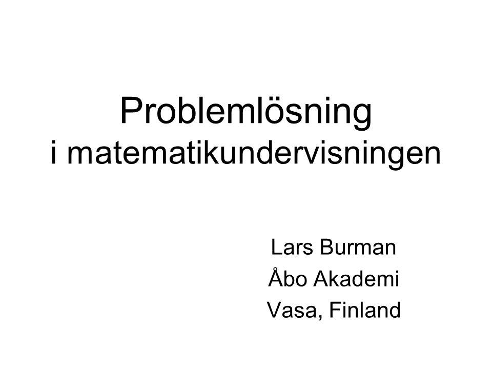 Problemlösning i matematikundervisningen