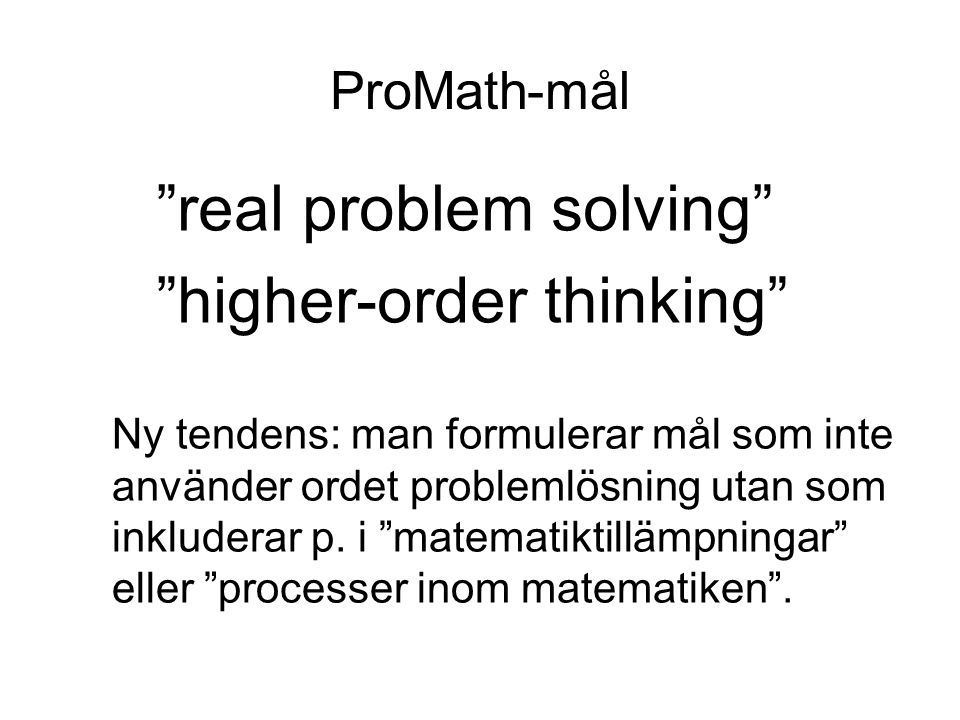 real problem solving higher-order thinking