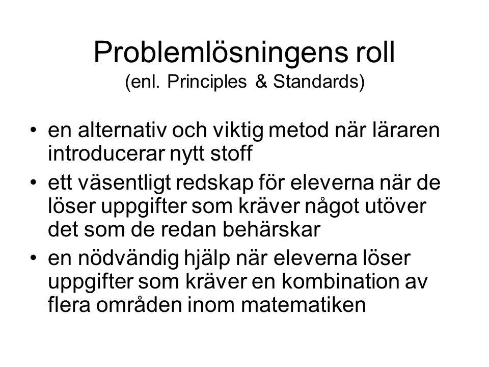Problemlösningens roll (enl. Principles & Standards)