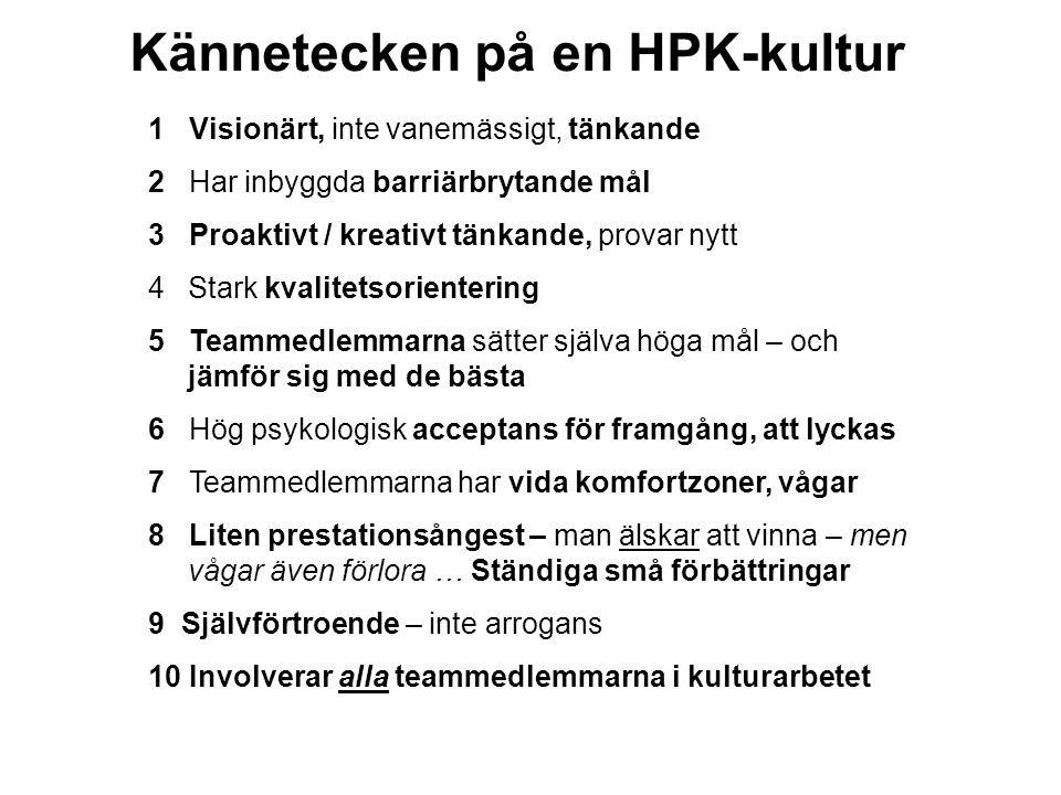 Kännetecken på en HPK-kultur