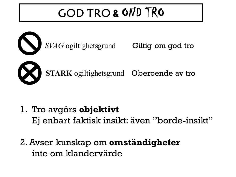 GOD TRO & OND TRO SVAG ogiltighetsgrund. Giltig om god tro. STARK ogiltighetsgrund. Oberoende av tro.