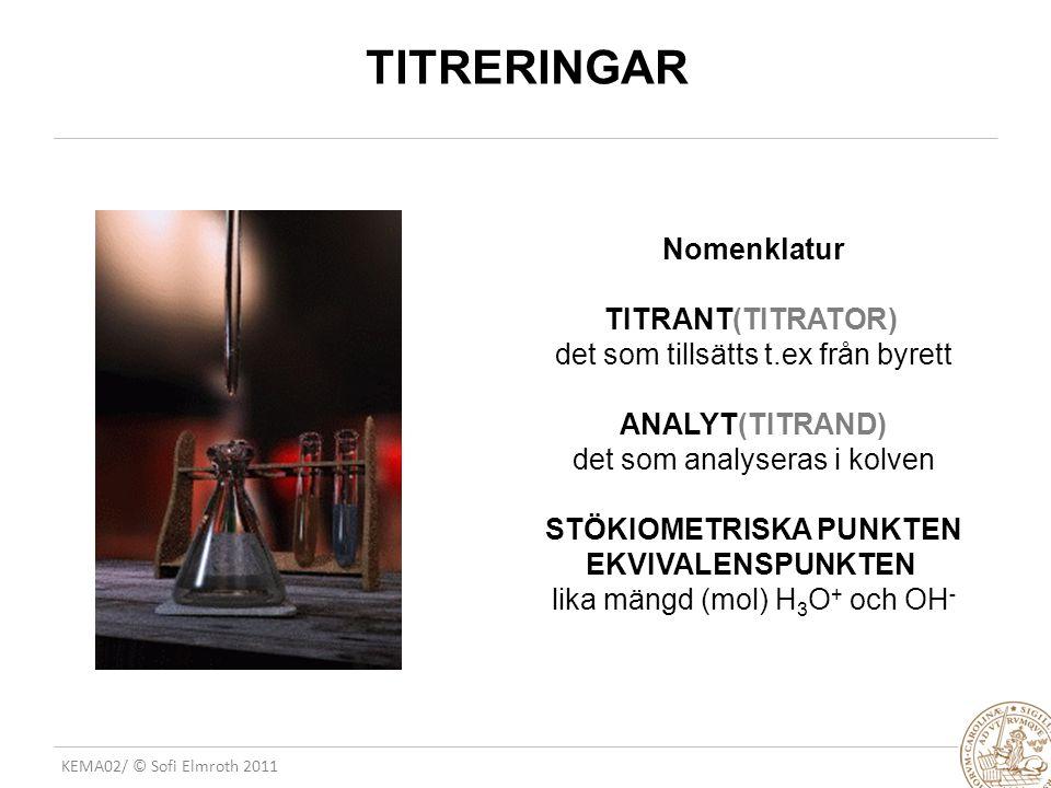 TITRERINGAR Nomenklatur TITRANT(TITRATOR)
