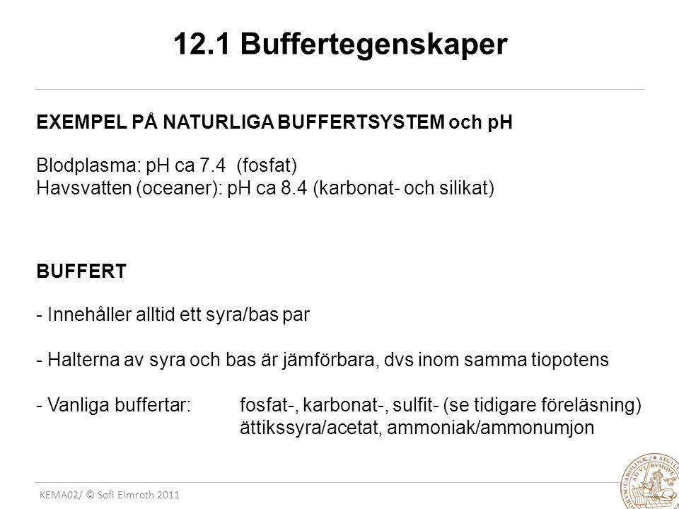 12.1 Buffertegenskaper EXEMPEL PÅ NATURLIGA BUFFERTSYSTEM och pH