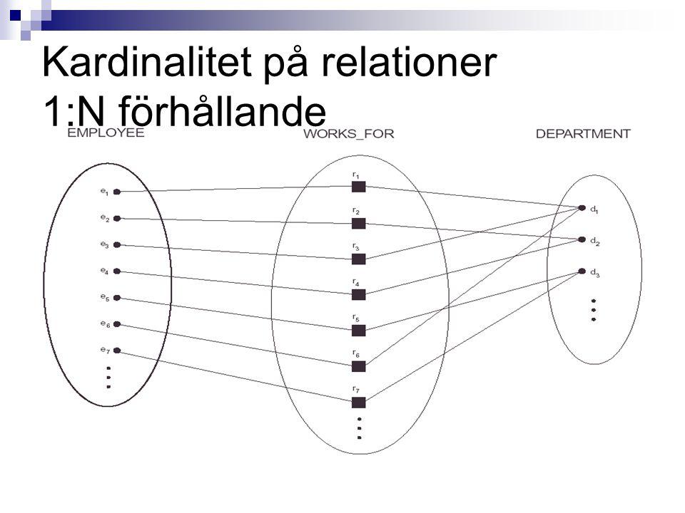 Kardinalitet på relationer 1:N förhållande