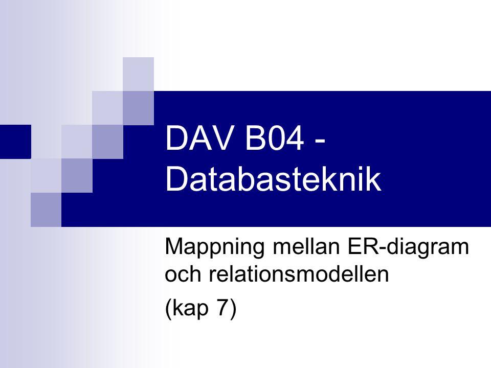 Mappning mellan ER-diagram och relationsmodellen (kap 7)