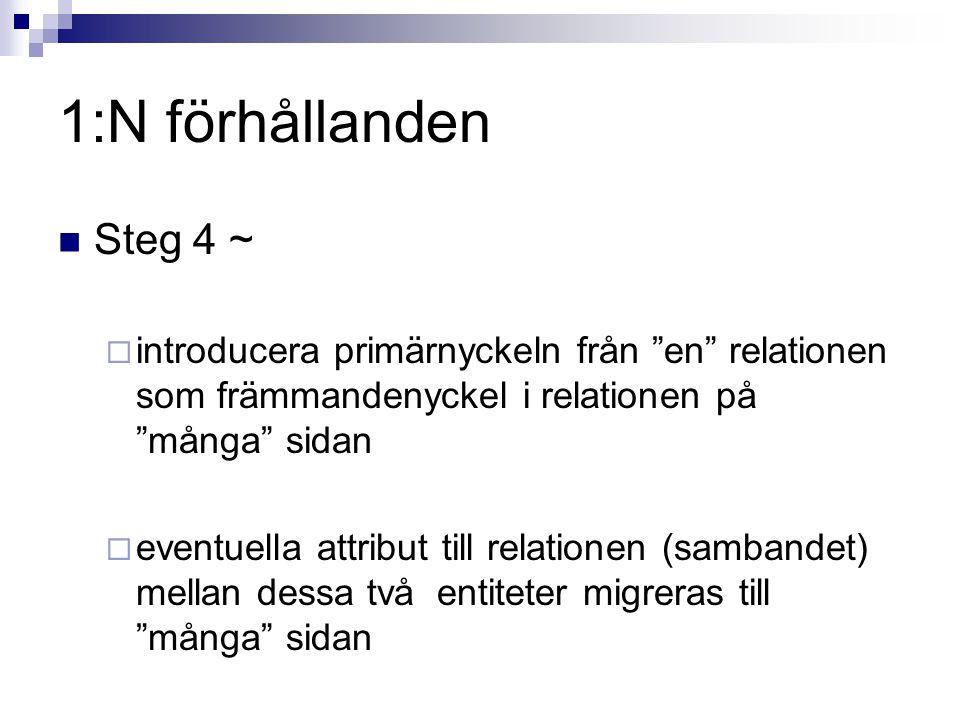 1:N förhållanden Steg 4 ~ introducera primärnyckeln från en relationen som främmandenyckel i relationen på många sidan.