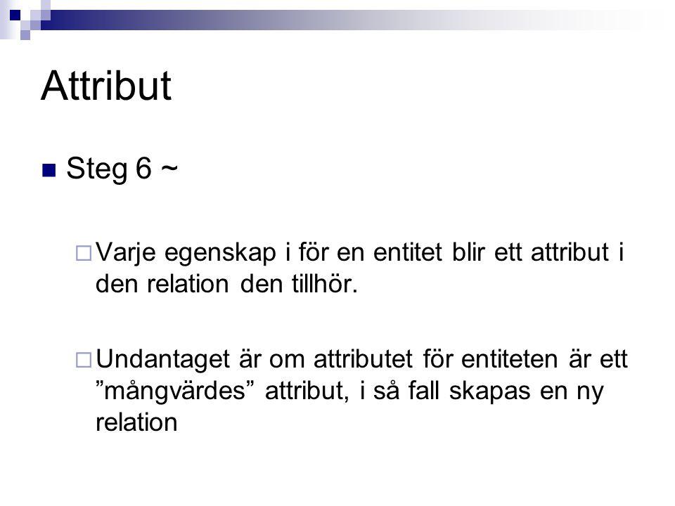 Attribut Steg 6 ~ Varje egenskap i för en entitet blir ett attribut i den relation den tillhör.
