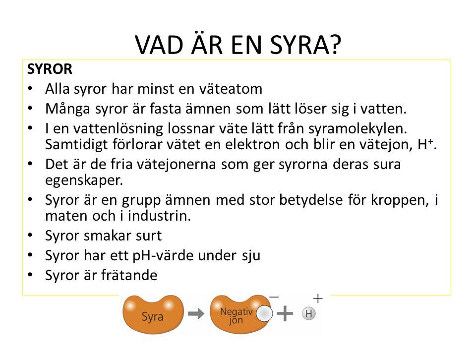 VAD ÄR EN SYRA SYROR Alla syror har minst en väteatom