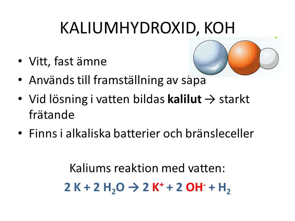 Kaliums reaktion med vatten: