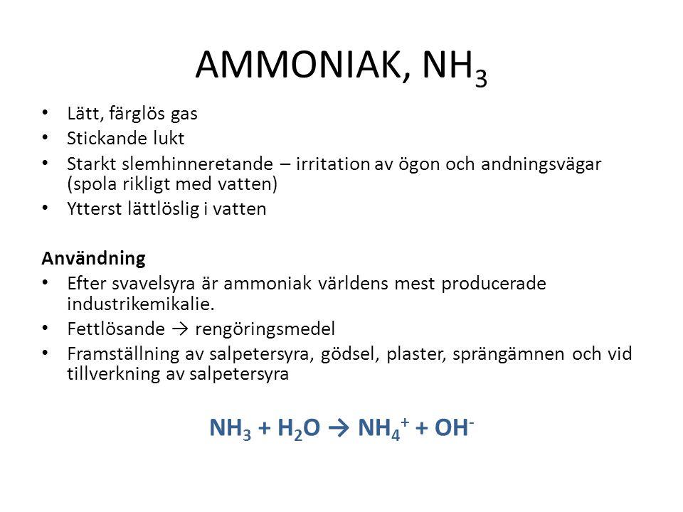 AMMONIAK, NH3 NH3 + H2O → NH4+ + OH- Lätt, färglös gas Stickande lukt