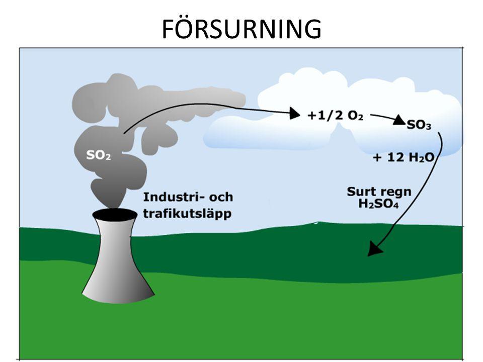 FÖRSURNING Olja från värmepannor och dieselmotorer innehåller svavel. Vid förbränning bildas bl.a. svaveldioxid.