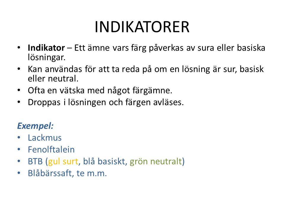 INDIKATORER Indikator – Ett ämne vars färg påverkas av sura eller basiska lösningar.