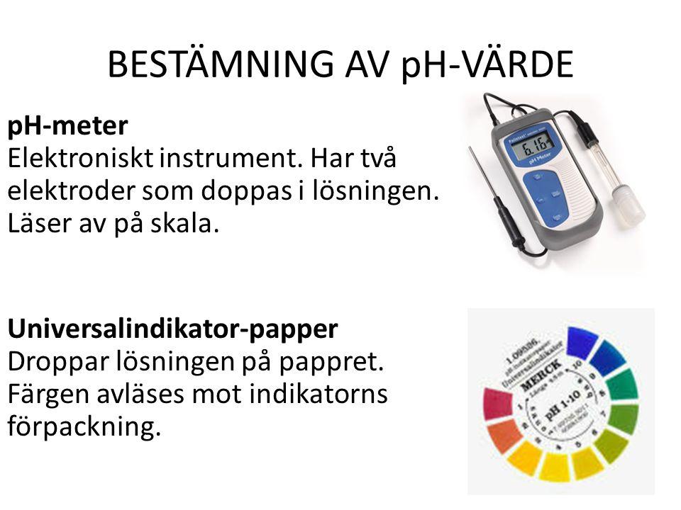 BESTÄMNING AV pH-VÄRDE