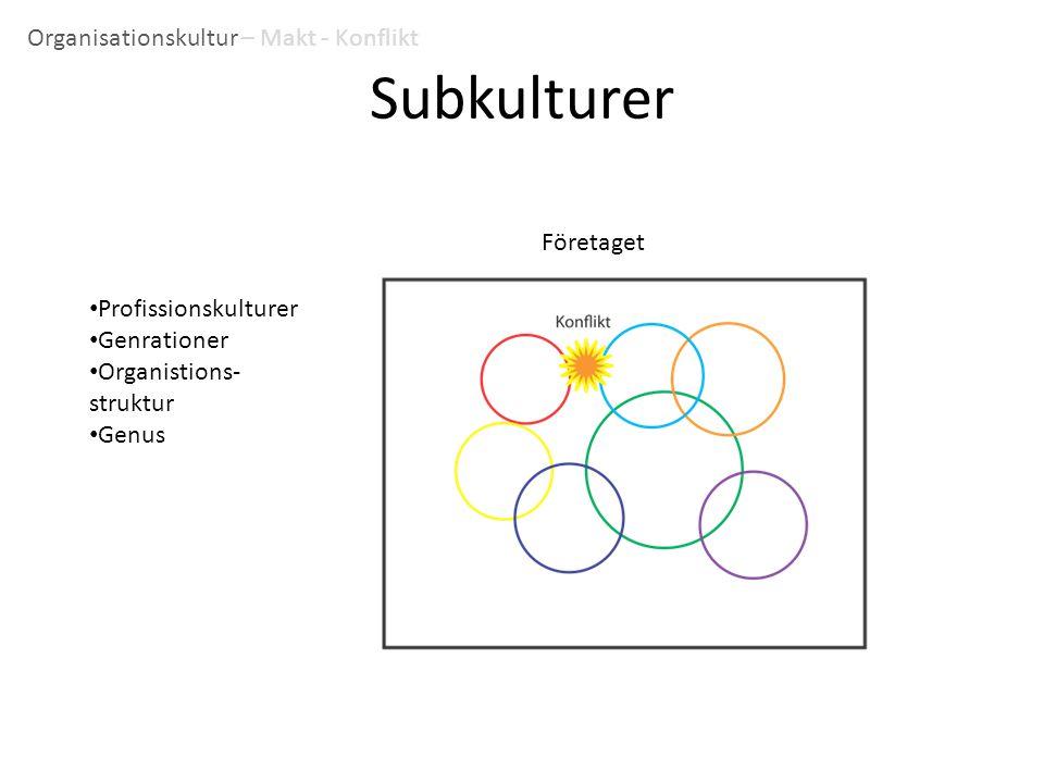 Subkulturer Organisationskultur – Makt - Konflikt Företaget