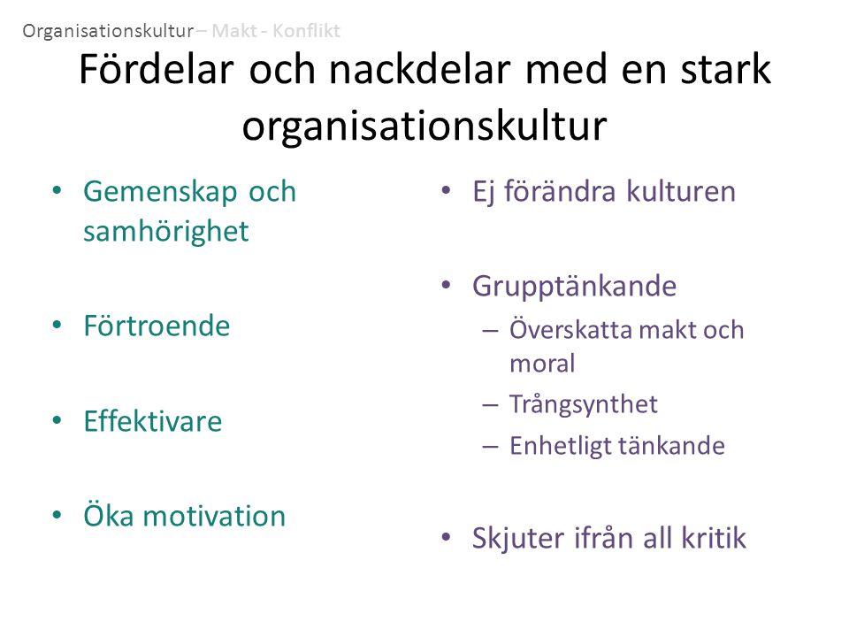 Fördelar och nackdelar med en stark organisationskultur