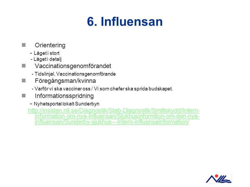 6. Influensan Orientering - Läget i stort Vaccinationsgenomförandet