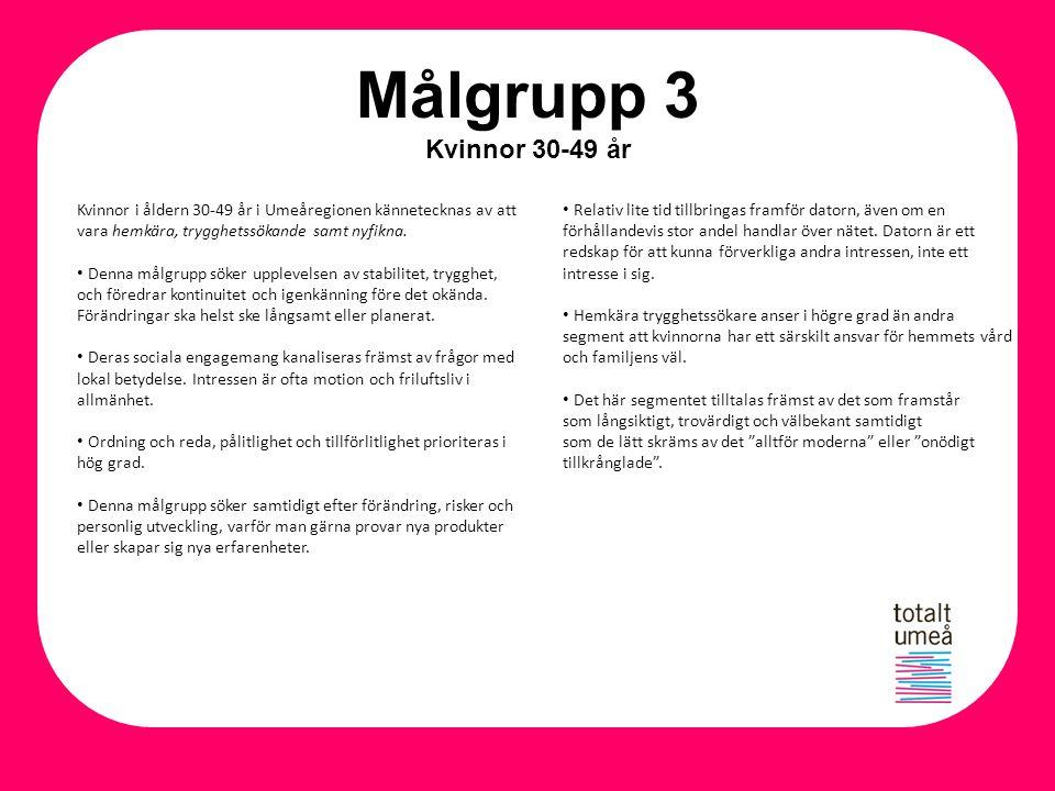 Målgrupp 3 Kvinnor 30-49 år Kvinnor i åldern 30-49 år i Umeåregionen kännetecknas av att vara hemkära, trygghetssökande samt nyfikna.
