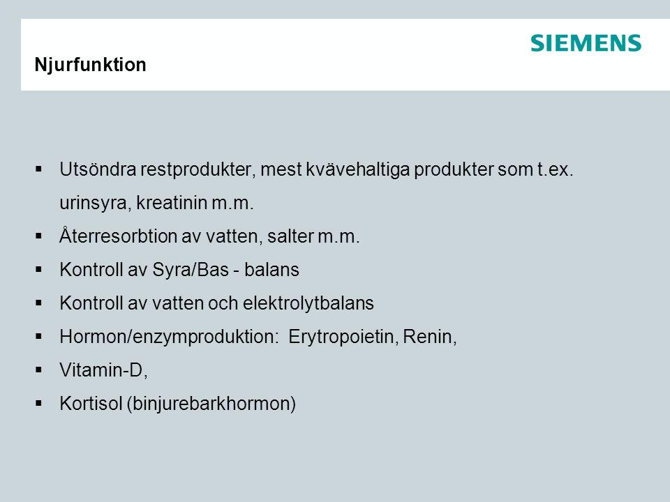 Njurfunktion Utsöndra restprodukter, mest kvävehaltiga produkter som t.ex. urinsyra, kreatinin m.m.