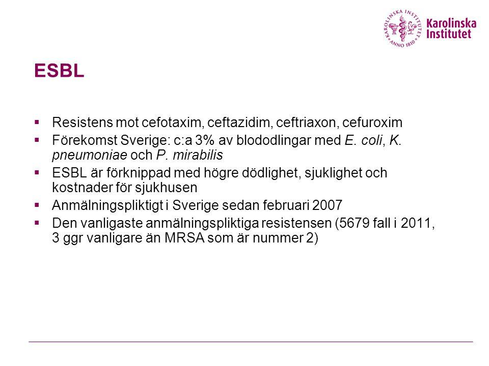 ESBL Resistens mot cefotaxim, ceftazidim, ceftriaxon, cefuroxim