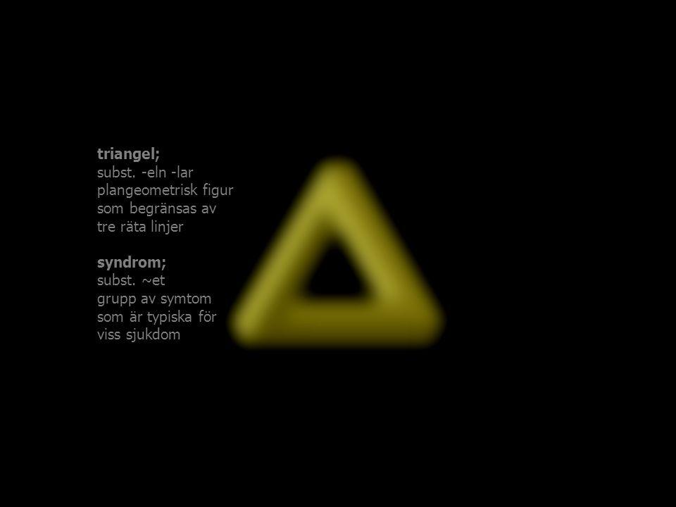 triangel; subst. -eln -lar. plangeometrisk figur. som begränsas av. tre räta linjer. syndrom; subst. ~et.