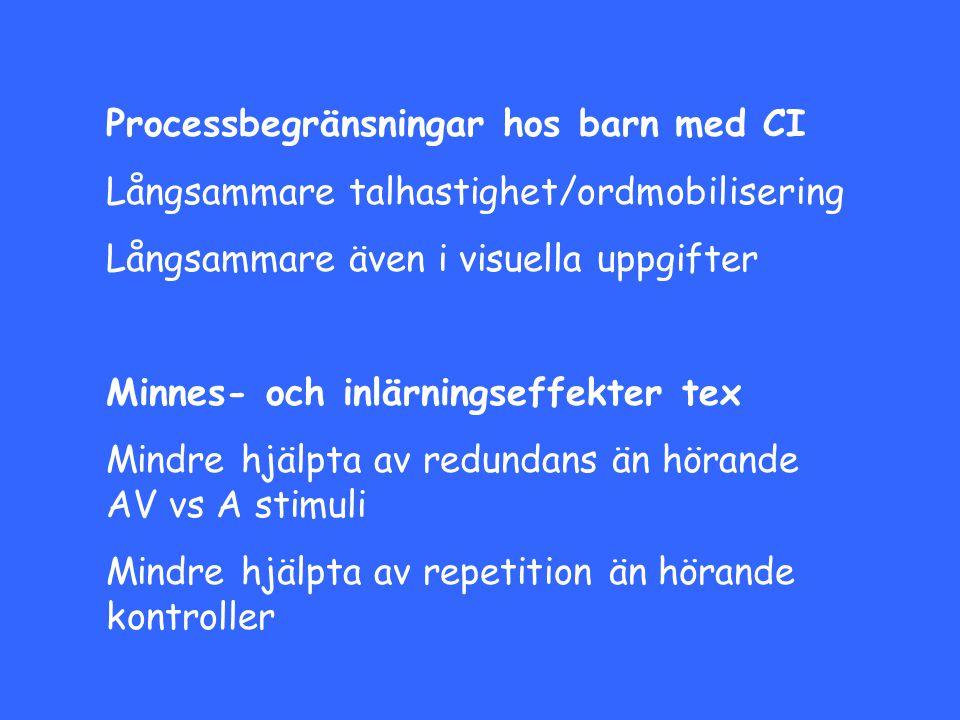 Processbegränsningar hos barn med CI