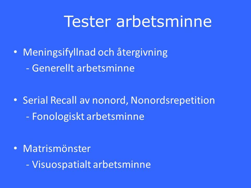 Tester arbetsminne Meningsifyllnad och återgivning