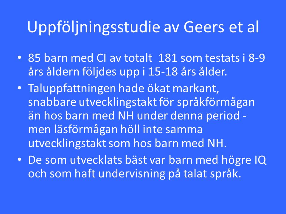 Uppföljningsstudie av Geers et al