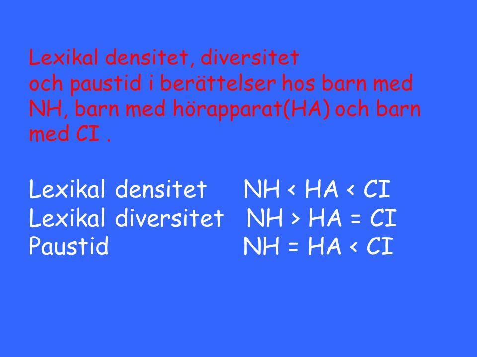 Lexikal densitet, diversitet och paustid i berättelser hos barn med NH, barn med hörapparat(HA) och barn med CI .