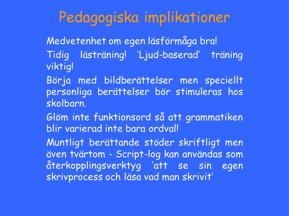 Pedagogiska implikationer