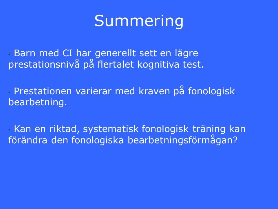 Summering Barn med CI har generellt sett en lägre prestationsnivå på flertalet kognitiva test.