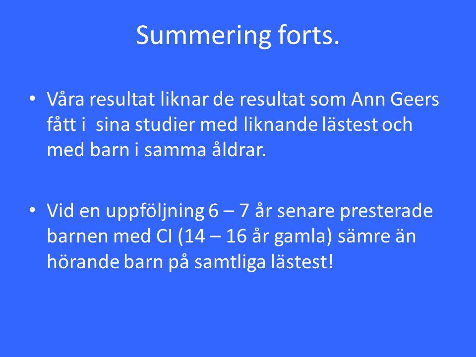 Summering forts. Våra resultat liknar de resultat som Ann Geers fått i sina studier med liknande lästest och med barn i samma åldrar.