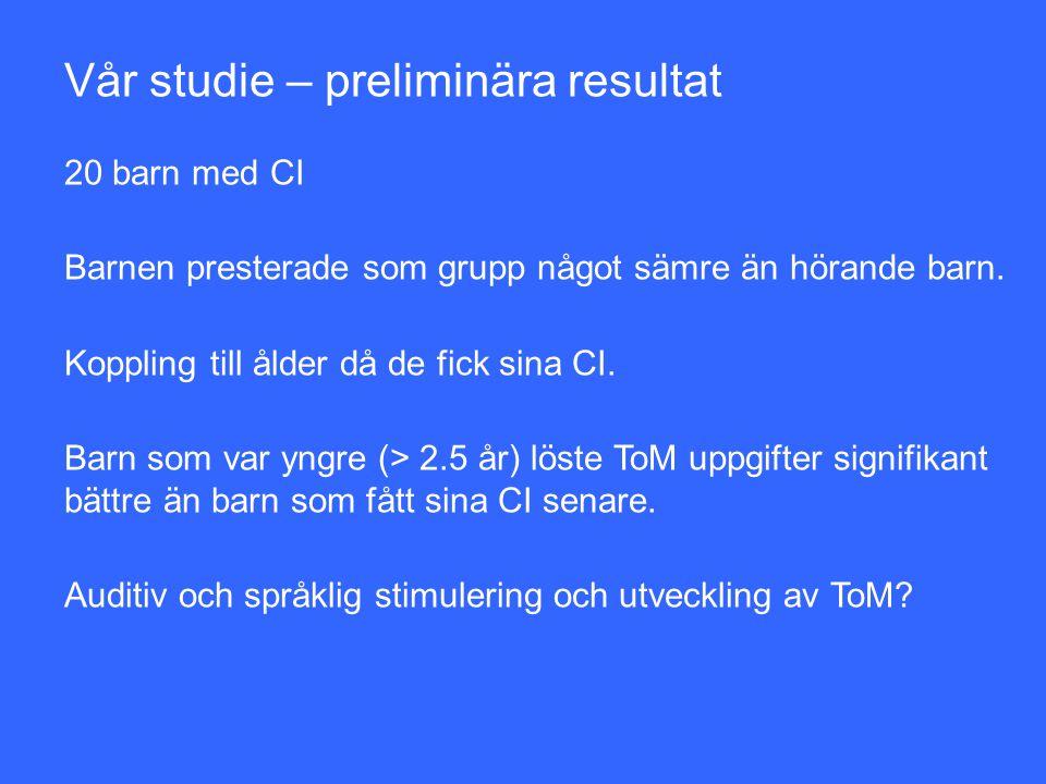 Vår studie – preliminära resultat