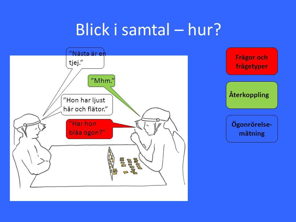 Blick i samtal – hur Nästa är en tjej. Frågor och frågetyper Mhm.