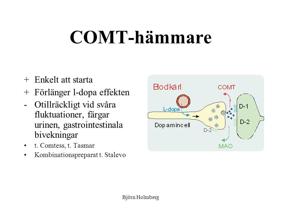 COMT-hämmare Enkelt att starta Förlänger l-dopa effekten
