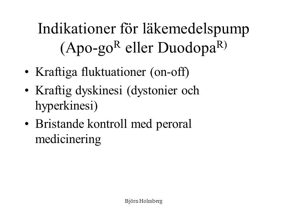 Indikationer för läkemedelspump (Apo-goR eller DuodopaR)