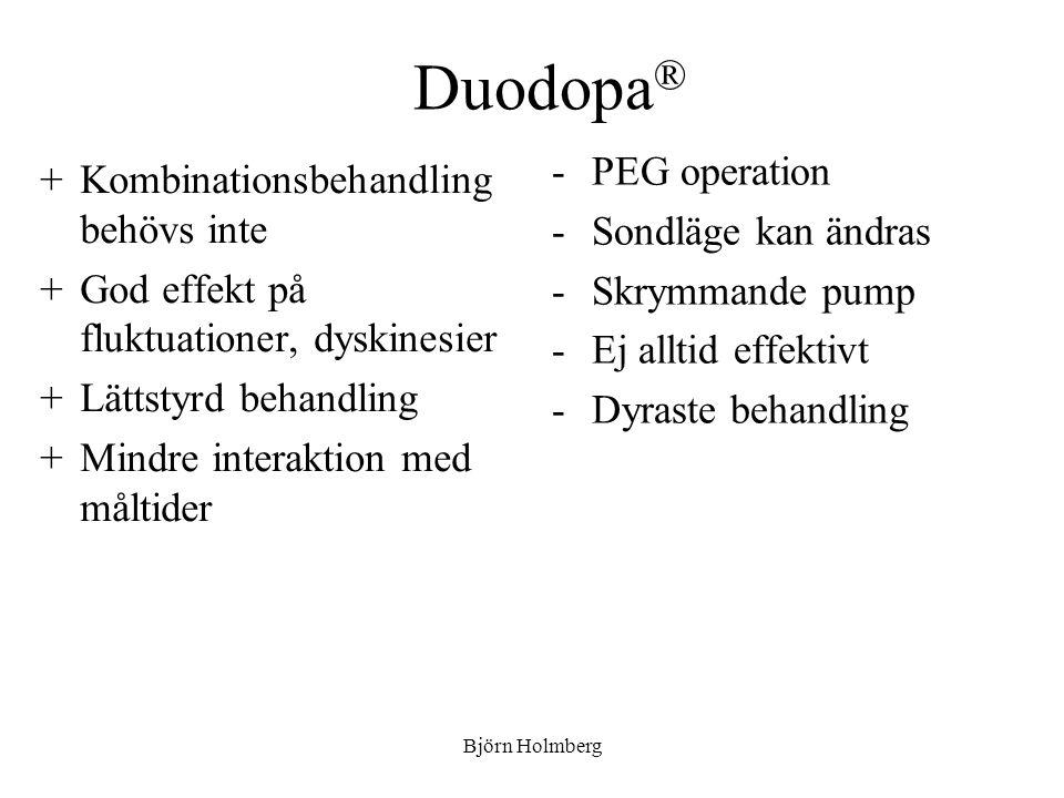 Duodopa® PEG operation Kombinationsbehandling behövs inte