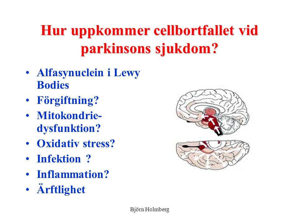 Hur uppkommer cellbortfallet vid parkinsons sjukdom
