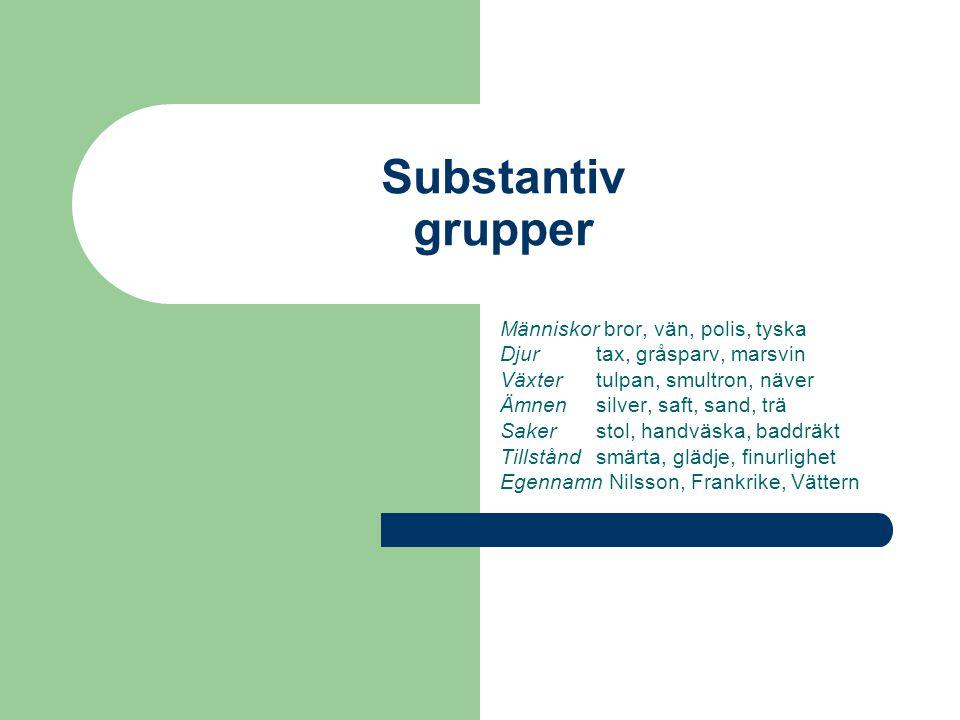 Substantiv grupper Människor bror, vän, polis, tyska