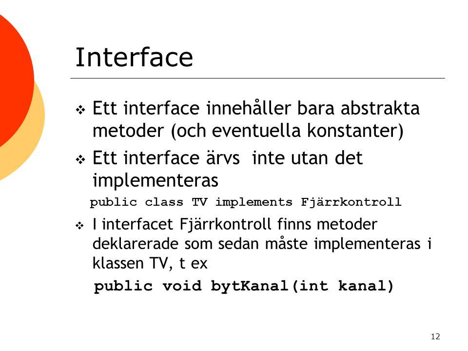Interface Ett interface innehåller bara abstrakta metoder (och eventuella konstanter) Ett interface ärvs inte utan det implementeras.