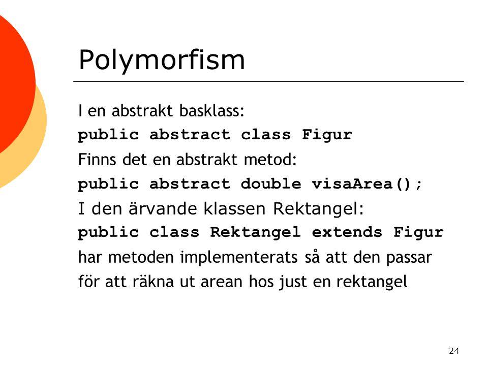Polymorfism I en abstrakt basklass: public abstract class Figur