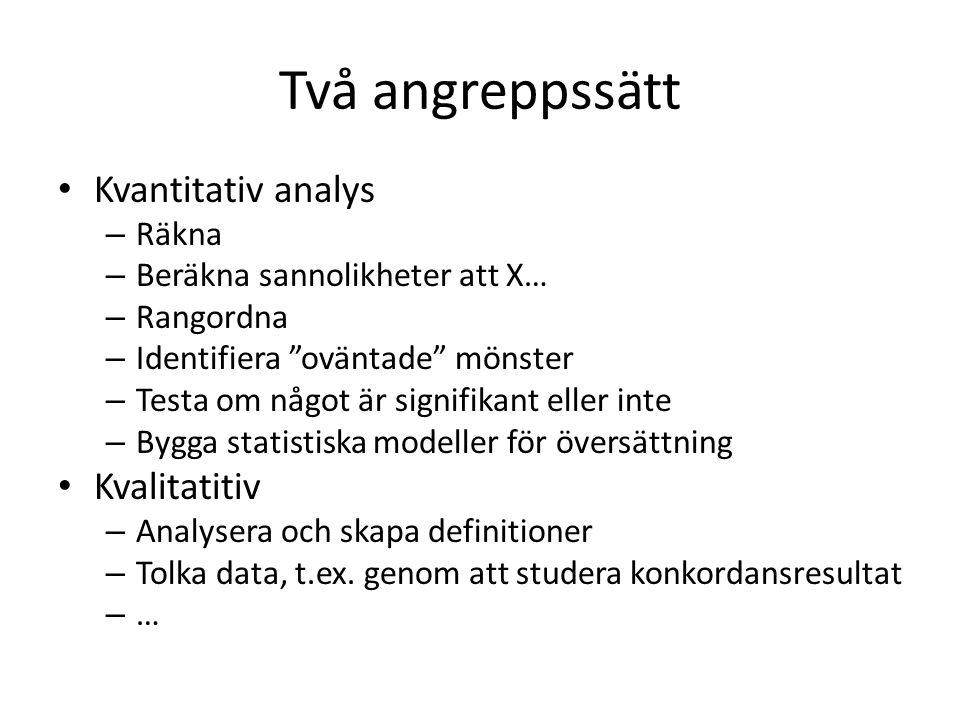Två angreppssätt Kvantitativ analys Kvalitatitiv Räkna