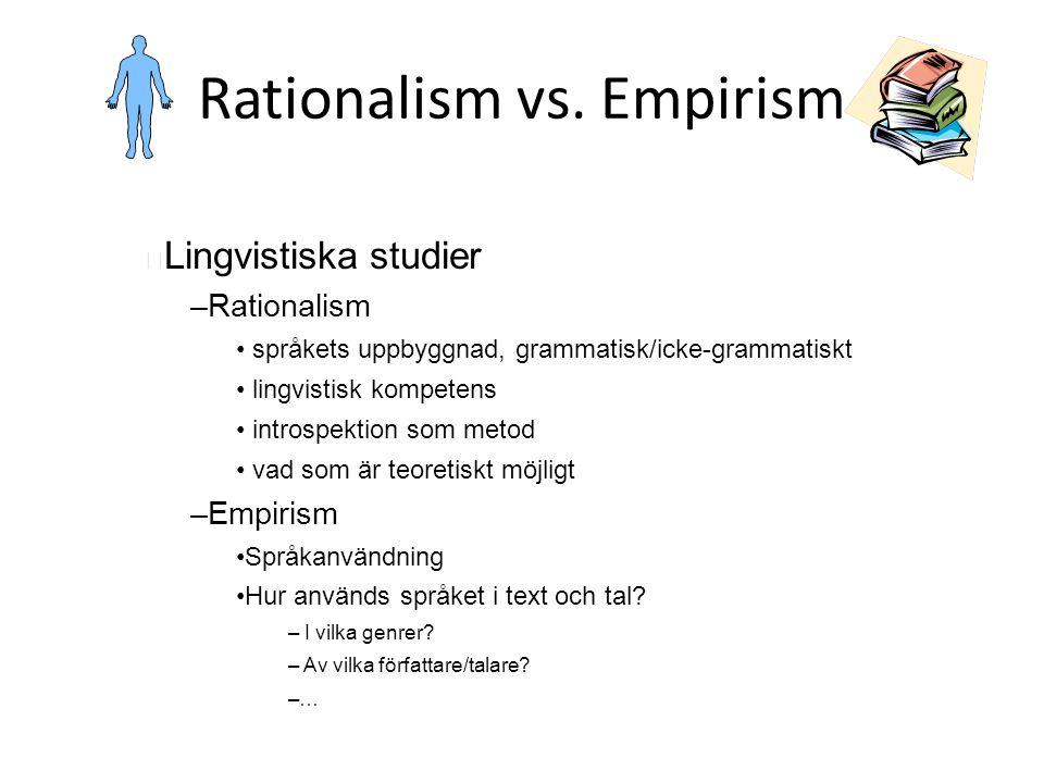 Rationalism vs. Empirism