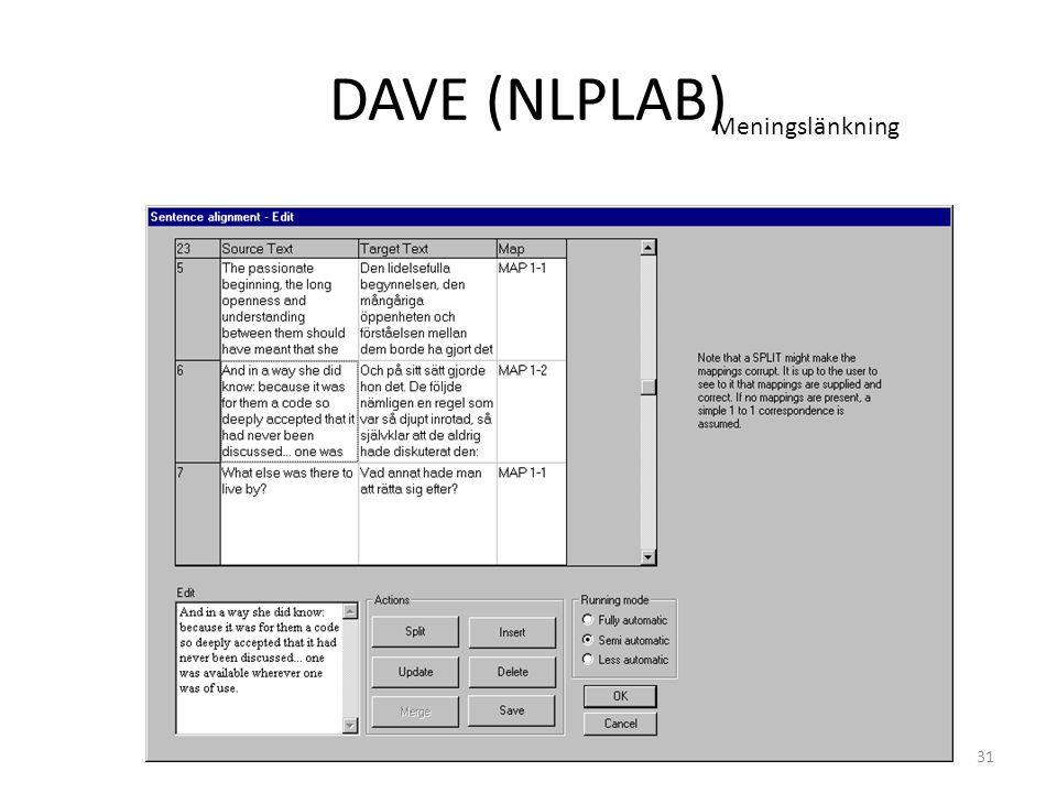 DAVE (NLPLAB) Meningslänkning