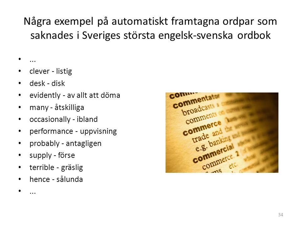 Några exempel på automatiskt framtagna ordpar som saknades i Sveriges största engelsk-svenska ordbok