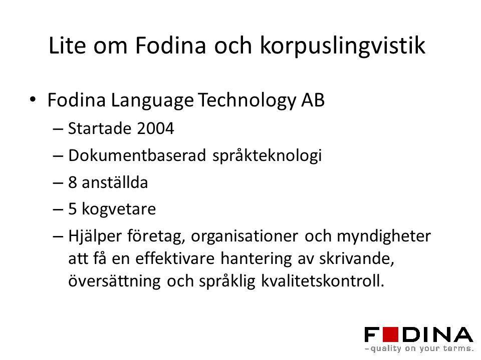 Lite om Fodina och korpuslingvistik