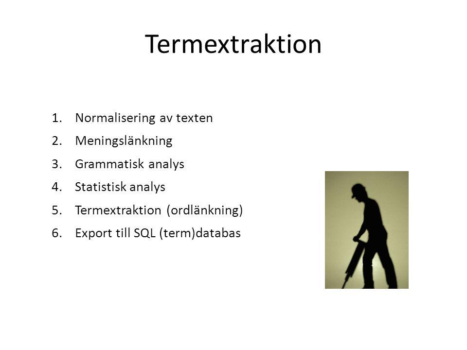 Termextraktion Normalisering av texten Meningslänkning
