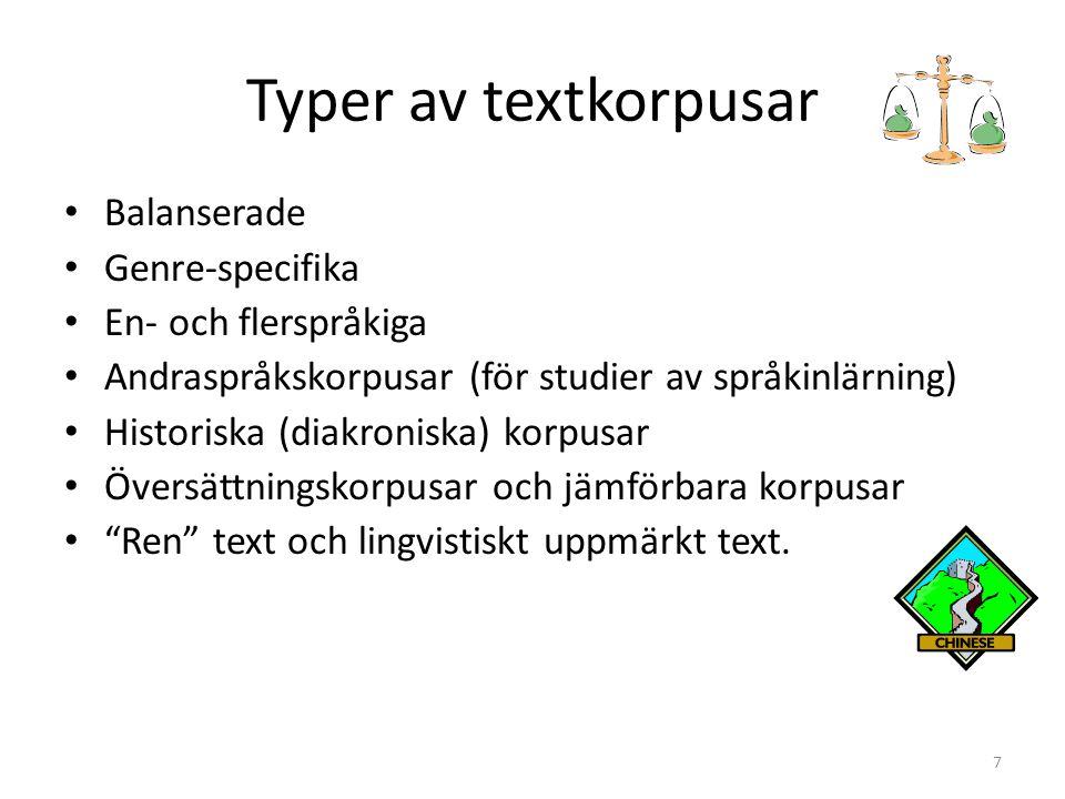 Typer av textkorpusar Balanserade Genre-specifika En- och flerspråkiga