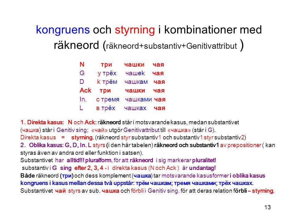 kongruens och styrning i kombinationer med räkneord (räkneord+substantiv+Genitivattribut )