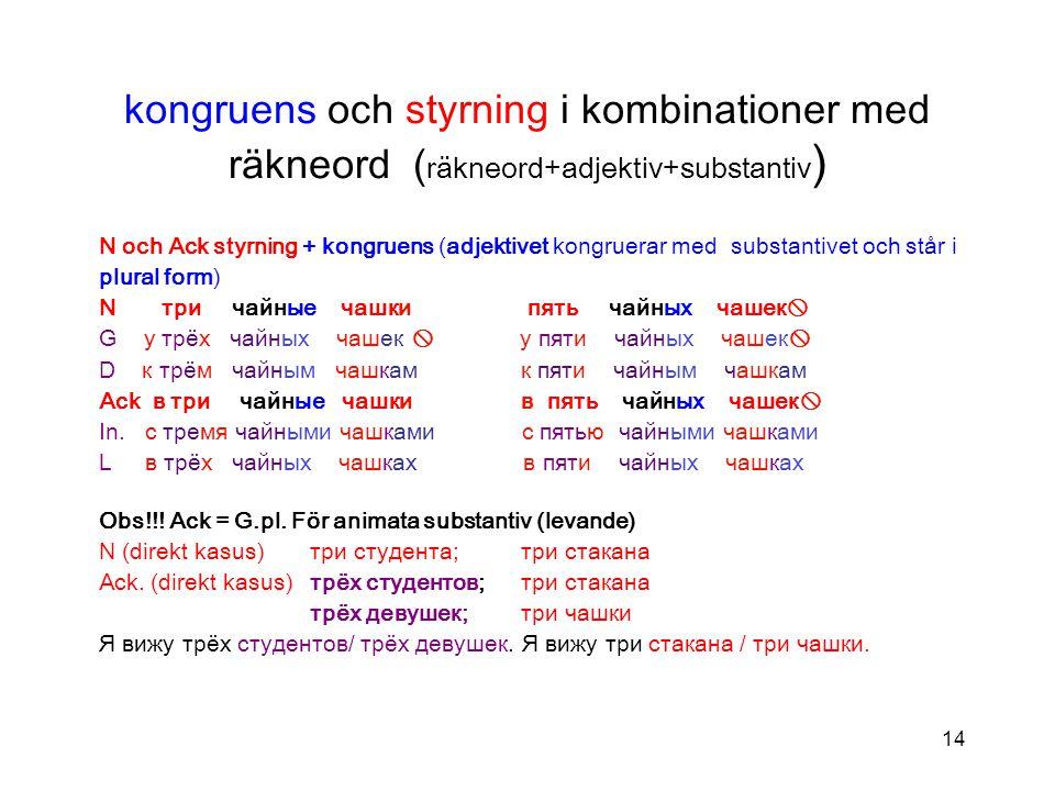 kongruens och styrning i kombinationer med räkneord (räkneord+adjektiv+substantiv)